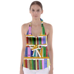 Shelf Books Library Reading Babydoll Tankini Top