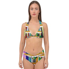 Shelf Books Library Reading Double Strap Halter Bikini Set