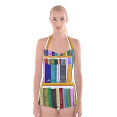 Shelf Books Library Reading Boyleg Halter Swimsuit
