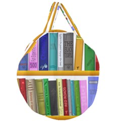Shelf Books Library Reading Giant Round Zipper Tote