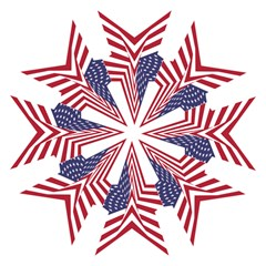 A Star With An American Flag Pattern Hook Handle Umbrellas (small) by Nexatart