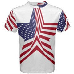 A Star With An American Flag Pattern Men s Cotton Tee