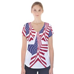 A Star With An American Flag Pattern Short Sleeve Front Detail Top