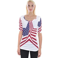 A Star With An American Flag Pattern Wide Neckline Tee