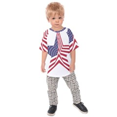 A Star With An American Flag Pattern Kids Raglan Tee