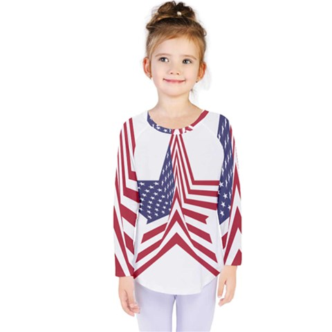 A Star With An American Flag Pattern Kids  Long Sleeve Tee by Nexatart