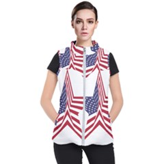 A Star With An American Flag Pattern Women s Puffer Vest
