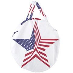 A Star With An American Flag Pattern Giant Round Zipper Tote