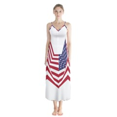 A Star With An American Flag Pattern Button Up Chiffon Maxi Dress