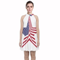 A Star With An American Flag Pattern Velvet Halter Neckline Dress  by Nexatart