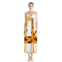 Giraffe Africa Safari Wildlife Button Up Chiffon Maxi Dress by Nexatart