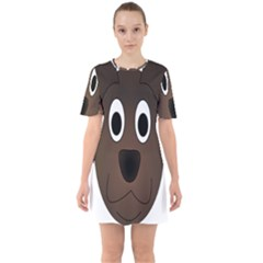Dog Pup Animal Canine Brown Pet Sixties Short Sleeve Mini Dress