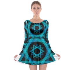 Transparent Triangles Long Sleeve Skater Dress