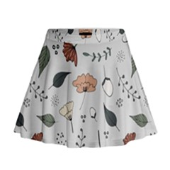 Grey Toned Pattern Mini Flare Skirt by Nexatart