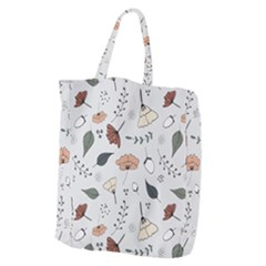 Grey Toned Pattern Giant Grocery Zipper Tote