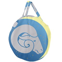 Ram Zodiac Sign Zodiac Moon Star Giant Round Zipper Tote