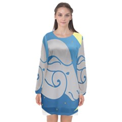Ram Zodiac Sign Zodiac Moon Star Long Sleeve Chiffon Shift Dress