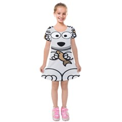 Bear Polar Bear Arctic Fish Mammal Kids  Short Sleeve Velvet Dress by Nexatart