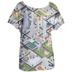 Simple Map Of The City Women s Oversized Tee