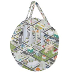 Simple Map Of The City Giant Round Zipper Tote