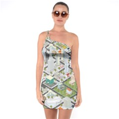 Simple Map Of The City One Soulder Bodycon Dress