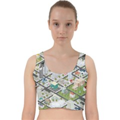 Simple Map Of The City Velvet Racer Back Crop Top