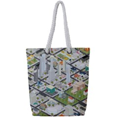 Simple Map Of The City Full Print Rope Handle Tote (small)