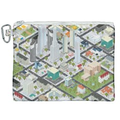 Simple Map Of The City Canvas Cosmetic Bag (xxl) by Nexatart
