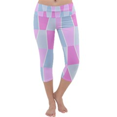 Geometric Pattern Design Pastels Capri Yoga Leggings