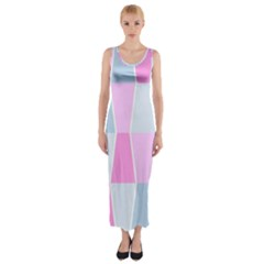Geometric Pattern Design Pastels Fitted Maxi Dress