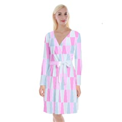 Geometric Pattern Design Pastels Long Sleeve Velvet Front Wrap Dress