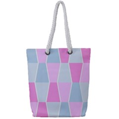 Geometric Pattern Design Pastels Full Print Rope Handle Tote (small)