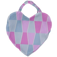 Geometric Pattern Design Pastels Giant Heart Shaped Tote