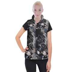 Angry Lion Digital Art Hd Women s Button Up Vest