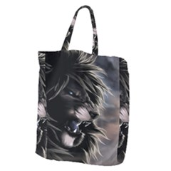 Angry Lion Digital Art Hd Giant Grocery Zipper Tote