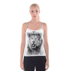 Lion Wildlife Art And Illustration Pencil Spaghetti Strap Top