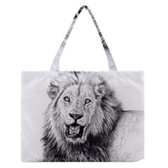 Lion Wildlife Art And Illustration Pencil Zipper Medium Tote Bag by Nexatart