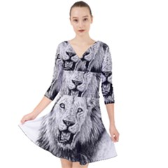 Lion Wildlife Art And Illustration Pencil Quarter Sleeve Front Wrap Dress