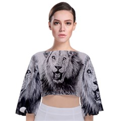Lion Wildlife Art And Illustration Pencil Tie Back Butterfly Sleeve Chiffon Top