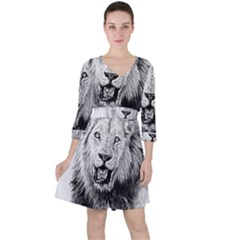 Lion Wildlife Art And Illustration Pencil Ruffle Dress