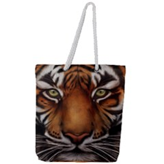The Tiger Face Full Print Rope Handle Tote (large)