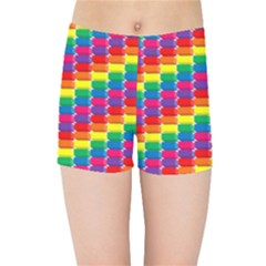 Rainbow 3d Cubes Red Orange Kids Sports Shorts
