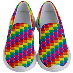 Rainbow 3d Cubes Red Orange Kid s Lightweight Slip Ons