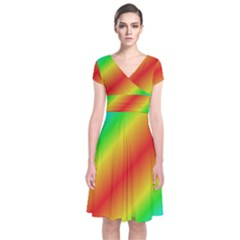 Background Diagonal Refraction Short Sleeve Front Wrap Dress