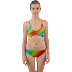 Background Diagonal Refraction Wrap Around Bikini Set by Nexatart
