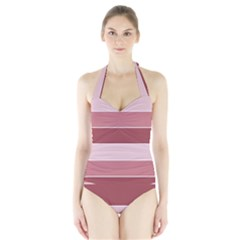 Striped Shapes Wide Stripes Horizontal Geometric Halter Swimsuit