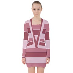 Striped Shapes Wide Stripes Horizontal Geometric V Neck Bodycon Long Sleeve Dress