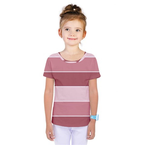 Striped Shapes Wide Stripes Horizontal Geometric Kids  One Piece Tee by Nexatart