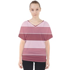 Striped Shapes Wide Stripes Horizontal Geometric V Neck Dolman Drape Top
