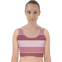 Striped Shapes Wide Stripes Horizontal Geometric Velvet Racer Back Crop Top